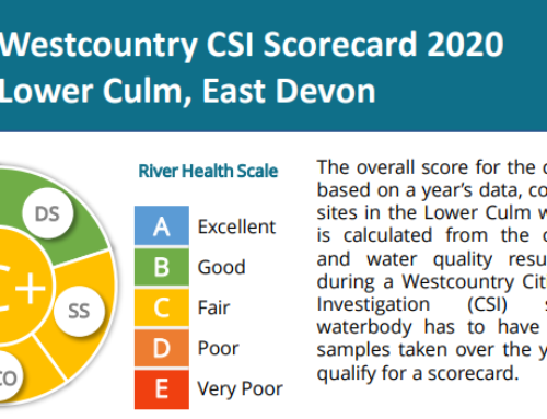 Lower Culm water quality – new Scorecard thanks to Culm CSI volunteers!