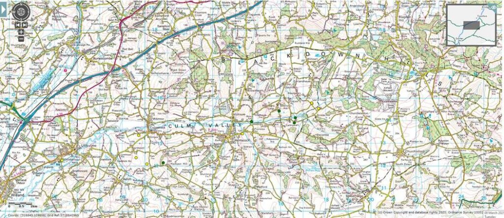Map showing nature based solutions locations in the Culm valley